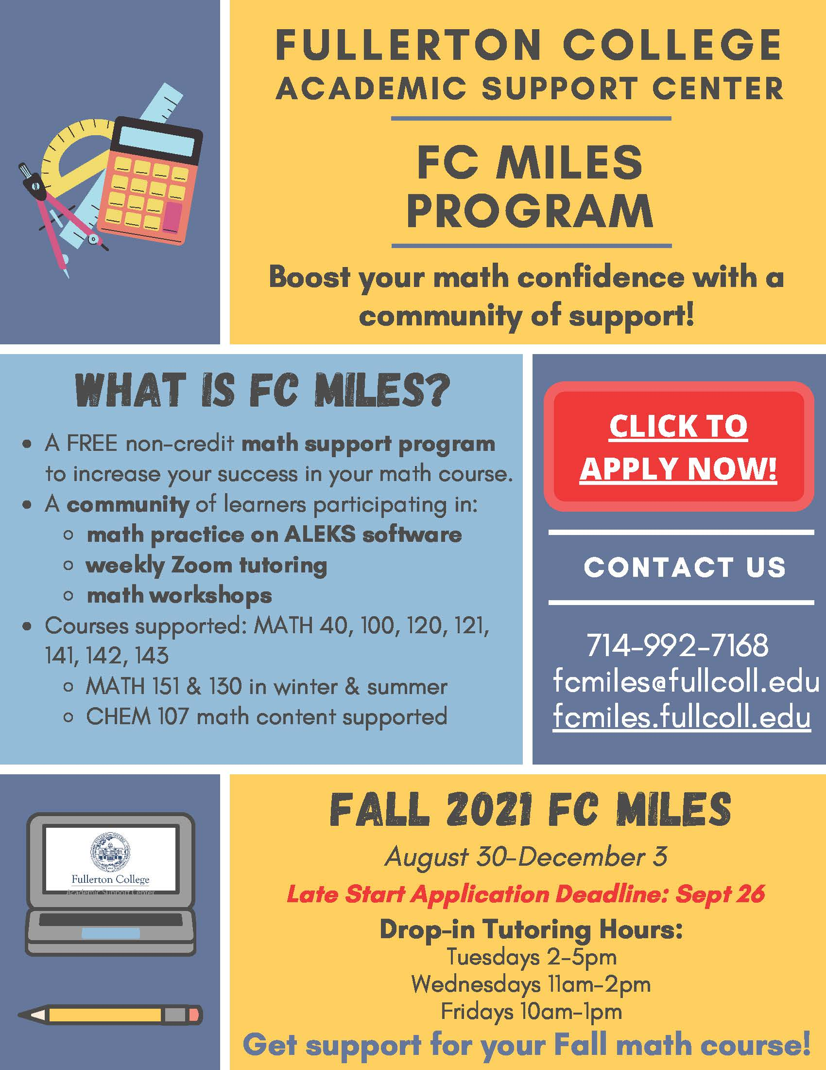 FC MILES Fall 2021 Flyer